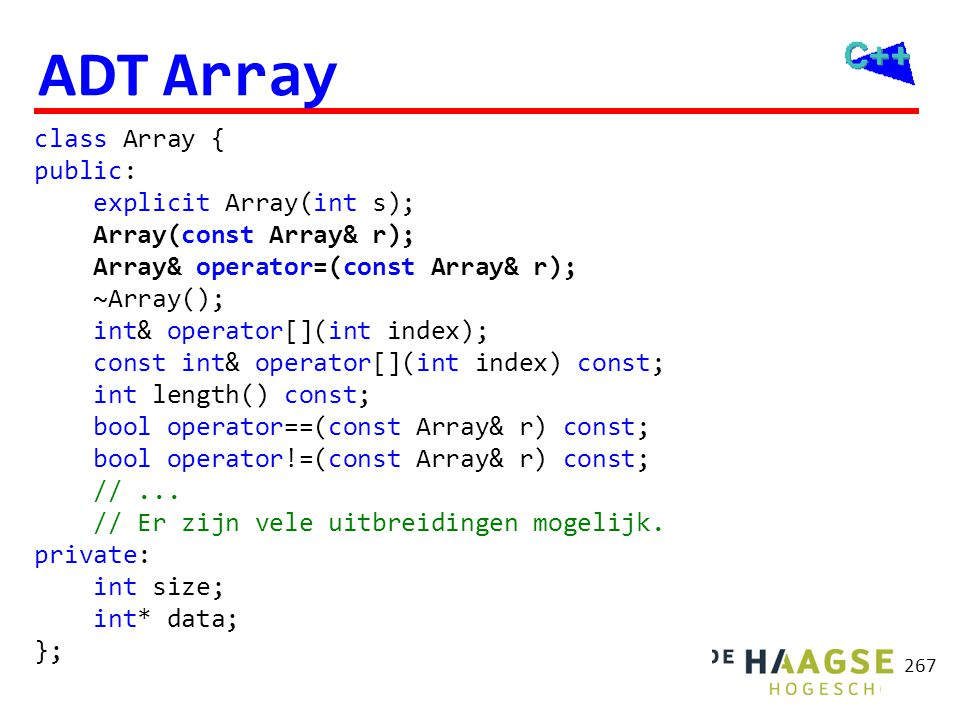 OGOPRG 3 april 2017. ADT Array. Array::Array(int s): size(s), data(new int[s]) { } Array::~Array() {